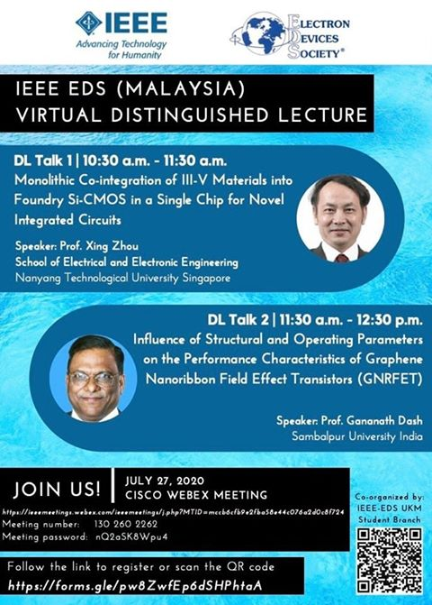 IEEE Electron Devices (EDS) Malaysia Virtual Distinguished Lectures (DL)