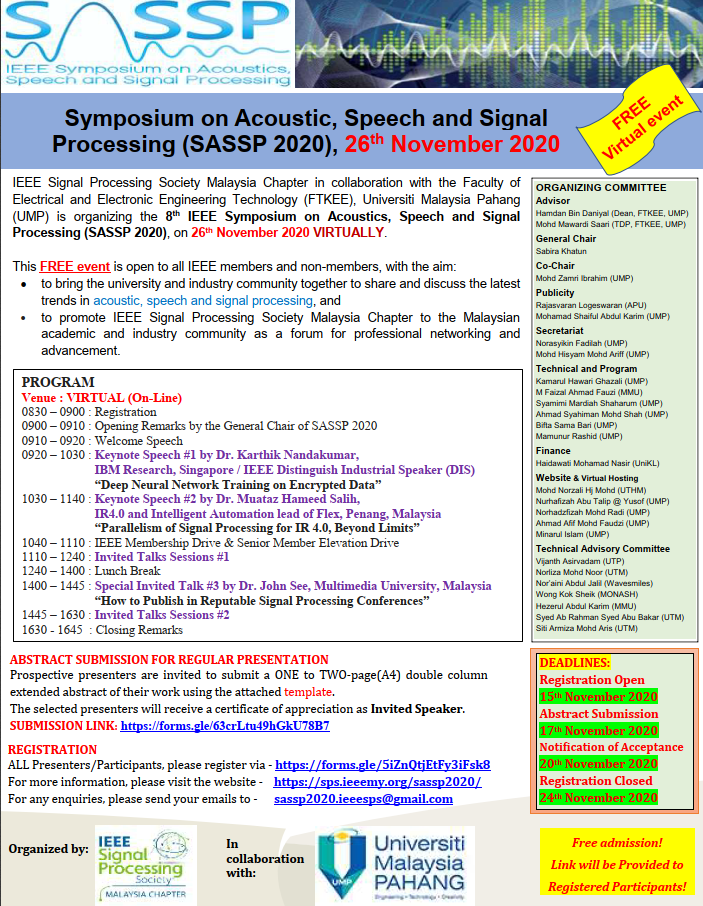 [Free] Virtual Symposium on Acoustics, Speech and Signal Processing (SASSP 2020)