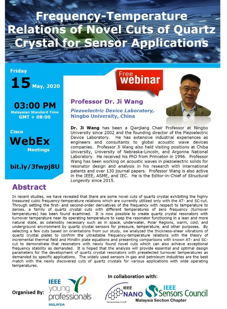 Webinar :  Frequency-Temperature Relations of Novel Cuts of Quartz Crystal for Sensor Applications