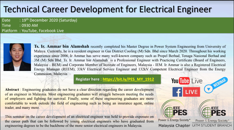 IEEE PES Malaysia Webinar : Technical Career Development for Electrical Engineer