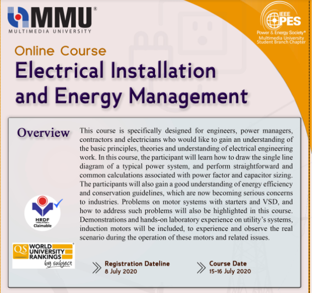 Online Course on Electrical Installation and Energy Management